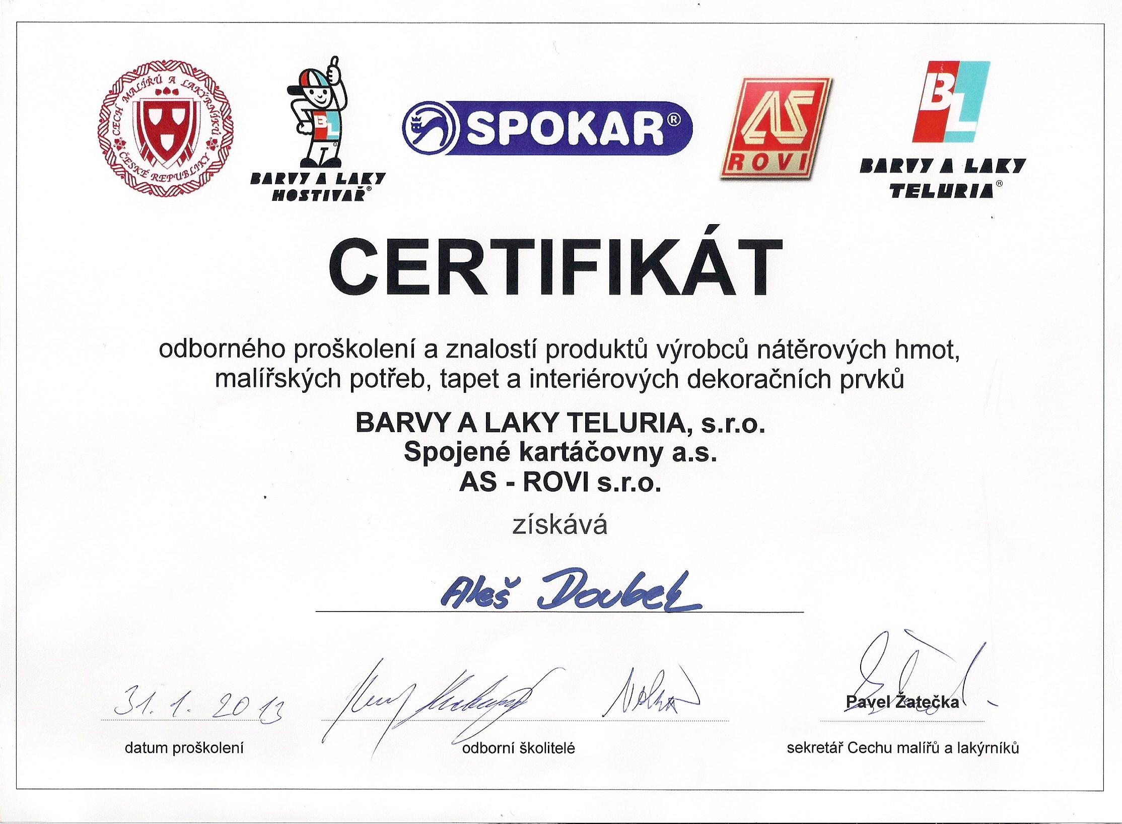 Certifikát z odborného proškolení a znalosti produktu