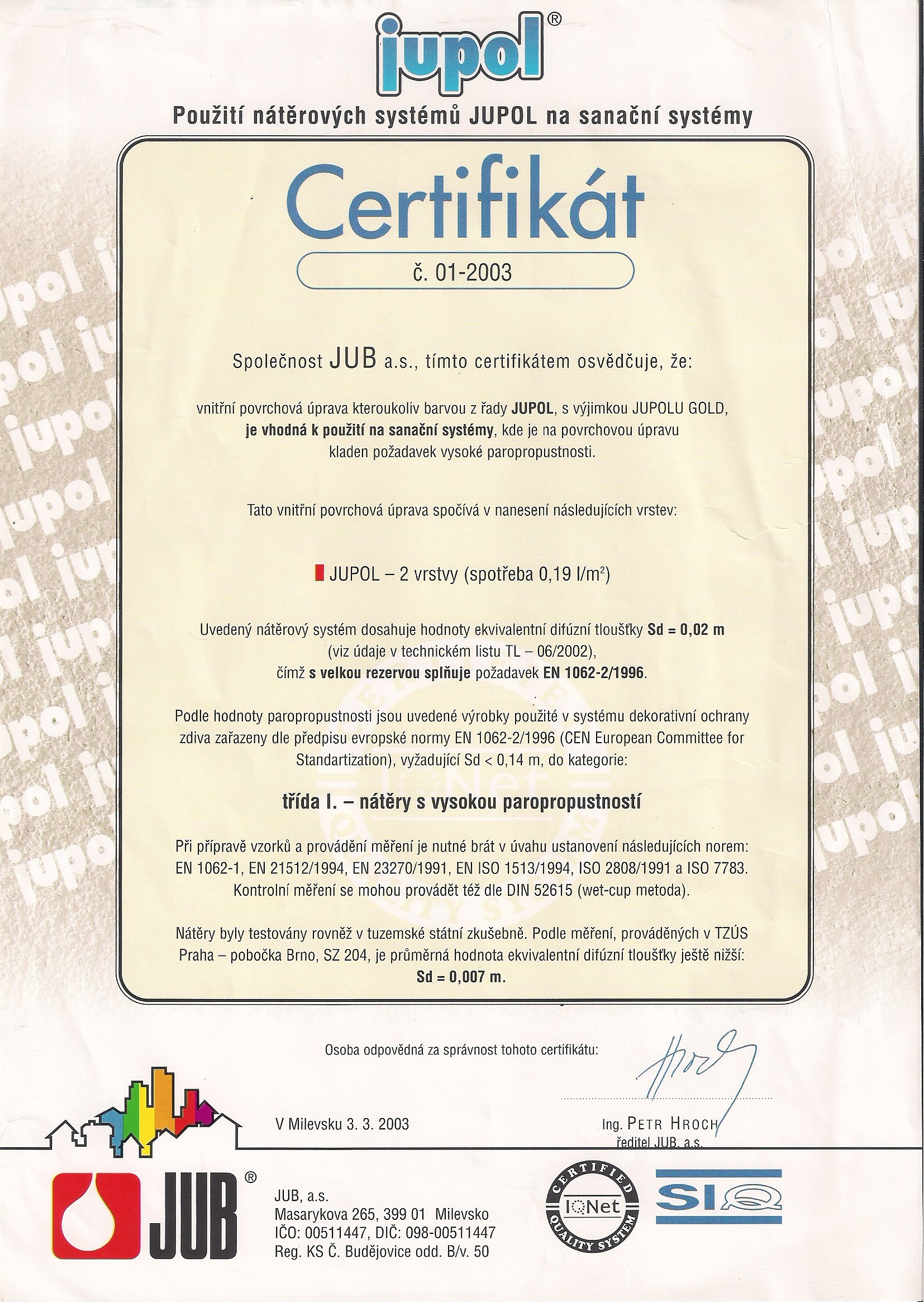 Certifikát Jupol