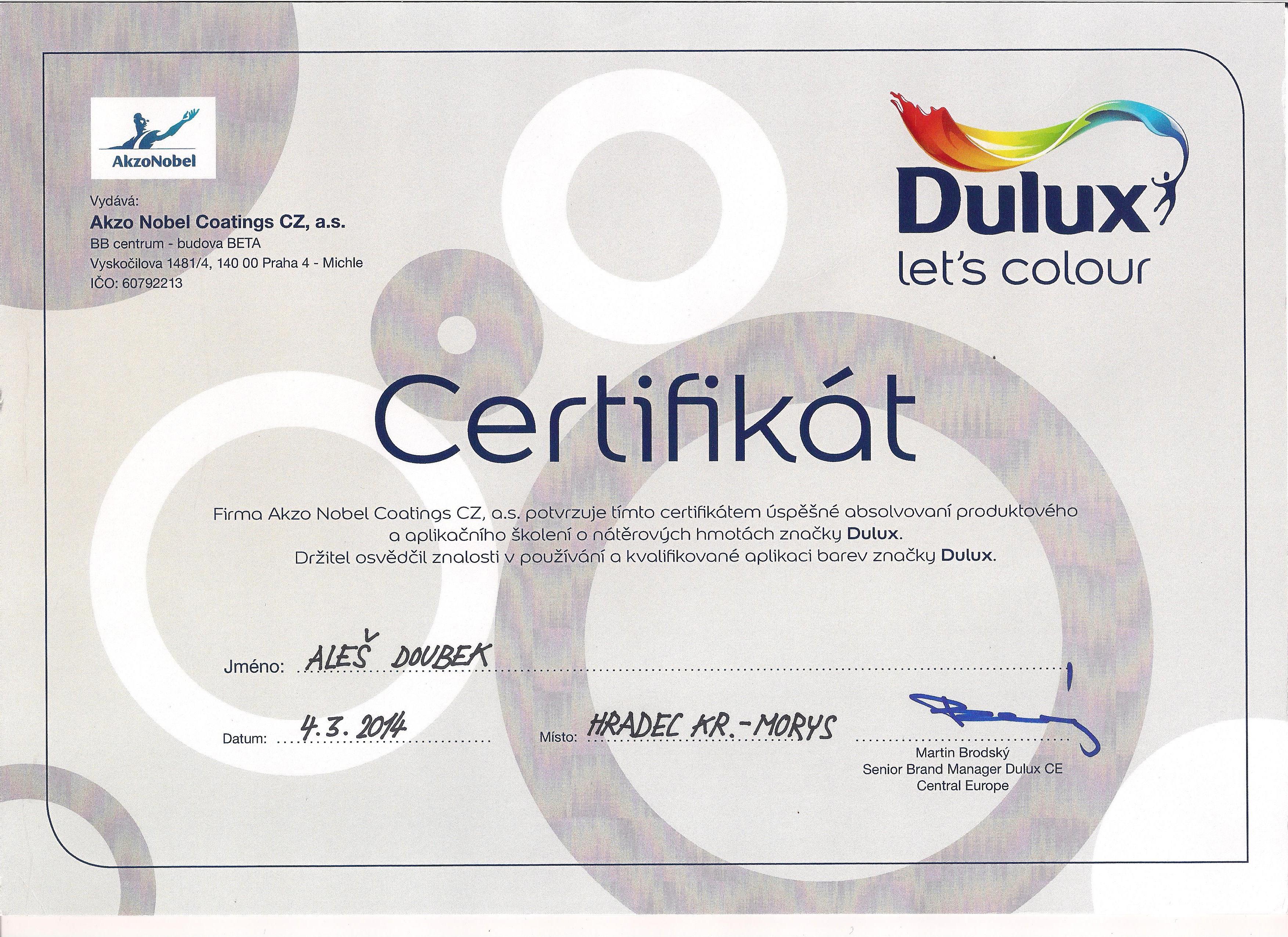 Certifikát Dulux